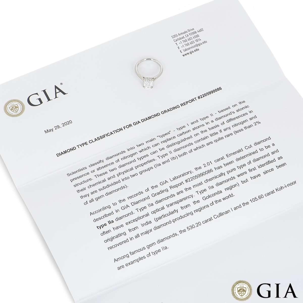 Platinum Emerald Cut Type IIA Diamond Ring 2.01ct D/Flawless